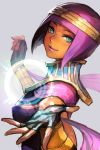 1girl dark_skin energy_ball fingerless_gloves gloves green_eyes hagoromo hankuri headband menat midriff purple_hair shawl smile solo street_fighter street_fighter_v