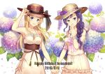 2016 2girls :d armpits ayase_eli black_ribbon blonde_hair blue_eyes blue_flower blush bracelet braid brown_hat collarbone covering_mouth dated dress duzie_e earrings floating_hair flower green_eyes hair_flower hair_ornament hand_holding hand_over_own_mouth happy_birthday hat hat_ribbon head_tilt hydrangea interlocked_fingers jewelry long_hair love_live! love_live!_school_idol_project multiple_girls open_mouth purple_flower purple_hair ribbon signature single_braid sleeveless sleeveless_dress smile sun_hat sundress toujou_nozomi white_background white_dress yellow_hat