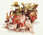 1girl artist_name black_hair book coffee commentary flower_pot food fruit holding holding_book long_sleeves minigirl miu_pachi open_book original plant potted_plant rabbit short_hair simple_background sitting solo strawberry white_background white_flower