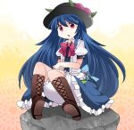 1girl :o bangs black_hat bloomers blue_hair blue_skirt blush boots bow bowtie brown_boots center_frills commentary_request cross-laced_footwear crossed_arms eyebrows_visible_through_hair food frills fruit gradient gradient_background hammer_(sunset_beach) hat highres hinanawi_tenshi knee_boots knees_up lace-up_boots long_hair medium_skirt open_mouth peach puffy_short_sleeves puffy_sleeves red_bow red_bowtie red_eyes rock shirt short_sleeves sitting skirt solo tareme touhou underwear upskirt very_long_hair white_shirt
