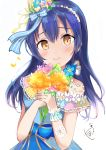 1girl absurdres bangs bare_shoulders blue_hair blush bouquet closed_mouth commentary_request eyebrows_visible_through_hair flower hair_between_eyes hair_ornament highres holding holding_bouquet long_hair looking_at_viewer love_live! love_live!_school_idol_festival love_live!_school_idol_project simple_background smile solo sonoda_umi sunya_(honorin-yuunibo) white_background yellow_eyes