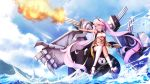 1girl ahoge anchor azur_lane blue_sky breasts cleavage closed_mouth clouds day fingerless_gloves gloves headgear heterochromia highres indianapolis_(azur_lane) long_hair medium_breasts mismatched_legwear namako_(namacotan) pink_hair shorts single_thighhigh sitting sky solo strapless thigh-highs tubetop twintails under_boob water white_legwear