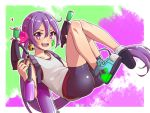 >:d 1girl :d akebono_(kantai_collection) alternate_costume bell bike_shorts hair_bell hair_ornament kantai_collection long_hair open_mouth paint paint_on_clothes paint_on_face parody purple_hair shoes side_ponytail smile solo splat_dualies_(splatoon) splatoon splatoon_2 tank_top very_long_hair violet_eyes yuki_to_hana