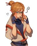 1boy blonde_hair blush facial_mark forehead_mark glasses hair_ornament hair_stick hair_tubes link long_hair male_focus mimme_(haenakk7) paya_(zelda) pointy_ears simple_background solo the_legend_of_zelda the_legend_of_zelda:_breath_of_the_wild trap