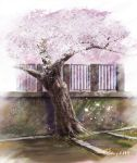 cherry_blossoms day grass hachiya_shohei no_humans original outdoors scenery signature still_life tree wall