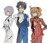 1boy 2girls ayanami_rei ayanami_rei_(cosplay) black_hair blue_eyes conohi_(snvcenni) cosplay cowboy_shot fate/grand_order fate_(series) fujimaru_ritsuka_(female) fujimaru_ritsuka_(male) hair_over_one_eye ikari_shinji ikari_shinji_(cosplay) multiple_girls neon_genesis_evangelion orange_hair plugsuit purple_hair shielder_(fate/grand_order) short_hair smile souryuu_asuka_langley souryuu_asuka_langley_(cosplay) violet_eyes yellow_eyes