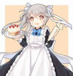 1girl :d alternate_costume apron black_dress blue_bow blue_bowtie blush bow bowtie brown_eyes collared_dress commentary_request cowboy_shot doily dress enmaided fang food food_on_face frilled_apron frills grey_hair hair_ribbon holding holding_plate long_hair long_sleeves looking_at_viewer maid ning_hai_(zhan_jian_shao_nyu) open_mouth pastry_bag plate ribbon side_ponytail sleeve_cuffs smile solo standing strawberry_shortcake tengxiang_lingnai whipped_cream white_apron white_ribbon zhan_jian_shao_nyu