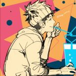 1boy crazy_straw cup drinking_straw hood hoodie looking_at_another male_focus male_protagonist_(pokemon_go) multicolored multicolored_background pokemon pokemon_go shared_drink short_hair sitting smile solo twitter_username visor_cap watari_yuu_(haskey)