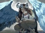 1boy 1girl brown_hair commentary feathered_wings flower harpy height_difference horns hug long_hair monster_girl no_pupils original rain squatting velocesmells wings