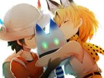 2girls :3 ^_^ amime_(pqrs1994) animal_ears backpack bag bare_shoulders black_gloves blonde_hair blush closed_eyes collarbone extra_ears gloves hand_on_another's_arm hat hat_feather highres hug kaban_(kemono_friends) kemono_friends lucky_beast_(kemono_friends) multiple_girls red_shirt sandwiched serval_(kemono_friends) serval_ears serval_print shirt short_hair short_sleeves sleeveless smile upper_body white_background white_shirt