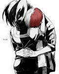 1boy 1girl artist_name back black_hair boku_no_hero_academia breasts center_opening from_behind gradient_hair greyscale hug jacket monochrome multicolored_hair noppo pants ponytail shirt simple_background sleeves_rolled_up todoroki_shouto track_jacket track_pants two-tone_hair white_background yaoyorozu_momo