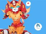 2boys animal_ears autobot blue_background blue_eyes cat_ears cat_tail fang highres kemonomimi_mode looking_at_viewer machine machinery male_focus mecha multiple_boys no_humans open_mouth paw_pose personification robot rodimus sitting tail transformers ultra_magnus