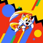 90s animal_ears clenched_hands commentary fangs flat_color flying fox_ears gloves kaigetsudo miles_tails_prower motion_blur multiple_tails nose open_mouth retro shoes sneakers solo sonic_mania sonic_the_hedgehog tail tails_(sonic) white_gloves