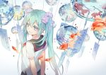 1girl ahoge aqua_eyes aqua_hair arms_behind_back fish flower from_above hair_flower hair_ornament hatsune_miku long_hair minland4099 school_uniform serafuku solo twintails vocaloid wind_chime