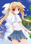 1girl blonde_hair blue_skirt clouds cloudy_sky cowboy_shot eyebrows_visible_through_hair fate_testarossa flipper floating_hair hair_ribbon long_hair lyrical_nanoha mahou_shoujo_lyrical_nanoha miniskirt panties pantyshot pantyshot_(standing) pleated_skirt red_eyes ribbon school_uniform shirt short_sleeves skirt sky smile solo standing twintails underwear very_long_hair white_panties white_ribbon white_shirt