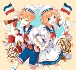 1boy 1girl :d ;d aqua_eyes arm_locked arm_up blonde_hair blue_shorts brother_and_sister dress eyebrows_visible_through_hair flag hair_between_eyes hat highres holding kagamine_len kagamine_rin neckerchief one_eye_closed open_mouth red_neckerchief sailor_dress sentaro207 shirt short_hair short_sleeves shorts siblings smile standing striped striped_background vocaloid white_hat white_legwear white_shirt