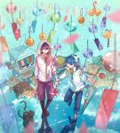 apple bell black_boots black_cat black_hair blue_background blue_eyes blue_hair book_stack boots cat closed_umbrella food fruit goggles goggles_removed hand_holding headphones highres hood hoodie lulu_7825 music niconico pinwheel reflection sheet_music sorarhythm soraru standing standing_on_one_leg television umbrella violet_eyes wind_chime zipper