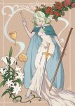 1girl alternate_costume art_nouveau blonde_hair blue_shoes cape closed_eyes cup diana_cavendish dress flower full_body green_hair high_heels highres little_witch_academia long_dress long_hair magic off_shoulder pentacle pentagram red_rose rose sanriyueguyun shoes signature solo staff sword wand weapon white_dress
