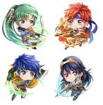 2boys 2girls armor blue_eyes blue_hair blush bow_(weapon) cape chibi cosplay eliwood_(fire_emblem) eliwood_(fire_emblem)_(cosplay) fire fire_emblem fire_emblem:_fuuin_no_tsurugi fire_emblem:_kakusei fire_emblem:_rekka_no_ken fire_emblem:_souen_no_kiseki fire_emblem_heroes gloves green_eyes green_hair greil greil_(cosplay) headband high_ponytail ike jewelry long_hair lucina lyndis_(fire_emblem) multiple_boys multiple_girls ponytail redhead roy_(fire_emblem) short_hair smile sword tiara weapon