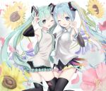 2girls ;3 ;d anniversary aqua_hair aqua_nails aqua_necktie bangs black_legwear blue_eyes breasts character_name detached_sleeves dual_persona english eyebrows_visible_through_hair floral_background flower frilled_shirt frills hair_ornament hatsune_miku head_to_head highres long_hair looking_at_viewer medium_breasts multiple_girls nail_polish necktie number ok_sign one_eye_closed open_mouth petals pleated_skirt pointing pointing_up shirt skirt smile star star_print sunflower thigh-highs twintails very_long_hair vocaloid wing_collar yuzuaji