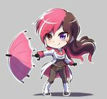 1girl bead_necklace beads black_gloves boots breasts brown_eyes brown_hair check_commentary chibi cleavage commentary_request gloves heterochromia iesupa jewelry multicolored_hair navel necklace neo_(rwby) parasol pink_hair rwby rwby_chibi smile solo umbrella violet_eyes white_boots
