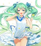 1girl :d alternate_costume blue_eyes blue_necktie blue_ribbon blush dress flower gradient gradient_background green_background green_hair hair_ribbon hatsune_miku highres holding holding_flower long_hair looking_at_viewer murakami_yuichi necktie open_mouth petals ribbon sleeveless sleeveless_dress smile solo twintails very_long_hair vocaloid white_background white_dress