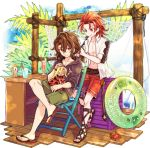 bendy_straw blue_sky braiding_hair brown_eyes brown_hair chair clouds crab dated day doll drink drinking_straw granblue_fantasy green_shorts hairdressing hood hood_down hoodie innertube long_hair navel net nonanemon orange_hair palm_tree percival_(granblue_fantasy) red_eyes red_shorts sandals see-through shorts siegfried_(granblue_fantasy) sitting sky tree wooden_floor