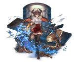 1girl bangs black_legwear blazer breasts brown_hair dragon_horns dragon_tail dragon_wings fire full_body granblue_fantasy grea_(shingeki_no_bahamut) horns instrument jacket large_breasts looking_at_viewer minaba_hideo official_art pointy_ears red_eyes shirt shoes short_hair skirt solo tail thigh-highs torn_clothes transparent_background trombone violin wings