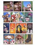 5girls akino_kaede astronaut bangs black_boots blonde_hair blue_hair blue_ribbon blue_sky blunt_bangs boned_meat boots brown_eyes brown_gloves bush camel campfire clothes_removed comic crab_claw cross-laced_footwear earth floating food forest fork gloves hair_ribbon headlight hood house kaname_madoka knife kyubey lace-up_boots long_hair magia_record:_mahou_shoujo_madoka_magica_gaiden magical_girl mahou_shoujo_madoka_magica meat midriff minami_rena multiple_girls nature papa pink_eyes pink_hair pink_ribbon pointing ponytail redhead ribbon riding river short_hair short_twintails sidelocks sign silent_comic sitting sky space staff sweatdrop tamaki_iroha terminator_2:_judgement_day thumbs_up togame_momoko translation_request twintails wading walking_stick witch_(madoka_magica)