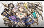 1girl bare_shoulders blue_eyes breasts bustier choker cleavage earrings flower gia hair_flower hair_ornament hairband highres jewelry long_hair looking_at_viewer mechanical_wings midriff navel original pendant silver_hair simple_background solo wings