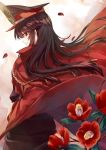 1girl bangs black_hair camellia chains cloak closed_mouth demon_archer fate_(series) flower from_side hat highres koha-ace long_hair looking_at_viewer looking_back military military_hat military_uniform petals profile red_eyes saijou_haruki sidelocks smile solo uniform upper_body wind wind_lift