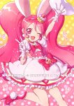1girl ;d animal_ears arm_up bow cake_hair_ornament copyright_name cure_whip dress extra_ears female food_themed_hair_ornament frills gloves gradient gradient_background hair_ornament hairband heart kirakira_precure_a_la_mode long_hair looking_at_viewer magical_girl one_eye_closed open_mouth pink_background pink_bow pink_choker pink_eyes pink_hair pink_hairband pink_shoes precure rabbit_ears shoes smile solo sparkle standing standing_on_one_leg tsuru_ringo twintails usami_ichika v white_dress white_gloves yellow_background