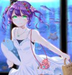 1girl ao_hito aquarium bag blush closed_mouth collarbone dress drill_locks eyebrows_visible_through_hair fish green_eyes handbag highres jewelry looking_at_viewer necklace original purple_hair short_hair smile solo star star_necklace white_dress