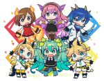 2boys 4girls aqua_hair bangs bare_shoulders black_dress blonde_hair blue_eyes blue_hair blue_scarf boots brown_eyes brown_hair chibi claws coat commentary dress elements gloves hair_leaf hair_ornament hairclip hands_up hatsune_miku horn long_hair mago multiple_boys multiple_girls outstretched_arms pink_hair scarf shirt short_ponytail shorts smile spiky_hair swept_bangs tail thigh-highs twintails very_long_hair vocaloid white_coat white_shirt white_shorts