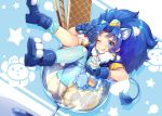 1girl ;q animal_ears bangs blue blue_background blue_eyes blue_gloves blue_hair blue_legwear blue_shirt blue_shoes blush cookie crown cure_gelato earrings extra_ears food glass gloves ice_cream in_container jewelry kirakira_precure_a_la_mode lion_ears lion_tail long_hair looking_at_viewer magical_girl mini_crown one_eye_closed parted_bangs precure satou_(kuso-neet) shirt shoes single_thighhigh skirt smile solo tail tategami_aoi thigh-highs tongue tongue_out white_skirt