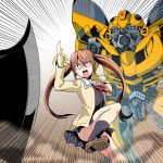 1boy 1girl aho_girl autobot banana blue_eyes brown_eyes brown_hair bumblebee crossover eyebrows_visible_through_hair female food fruit hair_ornament hairclip hanabatake_yoshiko insignia kamizono_(spookyhouse) long_hair machine machinery male mecha open_mouth robot school_uniform simple_background skirt standing sword thigh-highs transformers twintails weapon