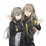 2girls :d black_legwear brown_eyes brown_hair dress_shirt duoyuanjun fingerless_gloves flush girls_frontline gloves grey_hair highres hood hooded_jacket index_finger_raised jacket leaning_forward long_hair long_sleeves looking_at_another magazine_pouch multiple_girls one_eye_closed one_side_up open_mouth pantyhose radio shirt shrug simple_background smile star star-shaped_pupils symbol-shaped_pupils ump40_(girls_frontline) ump45_(girls_frontline) upper_body walkie-talkie white_background yellow_eyes zipper zipper_pull_tab