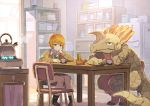 1boy 1girl aguila asymmetrical_hair bored chair chin_rest cup cupboard dinosaur dual_persona eyebrows_visible_through_hair female furry green_eyes hand_on_table indoors kitchen long_sleeves looking_at_viewer male orange_hair refrigerator sitting skirt sweater table teapot tomioka_jirou ultra_kaijuu_gijinka_keikaku ultra_series