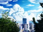 blue_sky blurry_foreground building city clouds cloudy_sky commentary_request day hankachi_(okayama012) highres leaf no_humans original outdoors plant scenery sky skyscraper summer