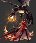 absurdres armor artist_request black_hair blue_eyes boots breathing_fire cape coat dragon dragon_knight_(dungeon_and_fighter) dungeon_and_fighter fire gauntlets highres horns knight_(dungeon_and_fighter) multicolored_hair official_art pantyhose pink_hair pointy_ears red_cape red_coat shoulder_armor sword weapon