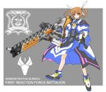 1girl armor armored_boots armored_dress armored_skirt black_gloves blue_eyes boots brown_hair closed_mouth commentary dress emblem english_commentary english_text fingerless_gloves gauntlets gloves grey_background gun hair_ribbon heterochromia holding holding_gun holding_weapon huge_weapon long_sleeves lyrical_nanoha mahou_shoujo_lyrical_nanoha_detonation medium_dress outside_border overskirt petag2 ribbon smile solo standing takamachi_nanoha twintails weapon white_dress white_footwear white_ribbon yellow_eyes