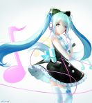 1girl black_bow blue_eyes blue_hair bow dress eyebrows_visible_through_hair frilled_dress frills gloves gradient gradient_background grey_background hair_bow hatsune_miku headphones highres long_hair magical_mirai_(vocaloid) microphone musical_note parted_lips short_dress signature solo standing thigh-highs twintails very_long_hair vocaloid white_gloves white_legwear