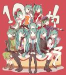 6+girls aqua_eyes aqua_hair chibi_on_head closed_eyes detached_sleeves gloves green_eyes green_hair hat hatsune_miku headphones highres kawashima_taro long_hair multiple_girls necktie odds_&_ends_(vocaloid) open_mouth peaked_cap red_background saihate_(vocaloid) senbon-zakura_(vocaloid) sitting skirt steepled_fingers tell_your_world_(vocaloid) thigh-highs twintails very_long_hair vocaloid world_is_mine_(vocaloid)