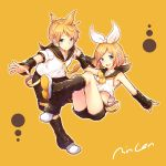1boy 1girl :d belt black_legwear black_shorts blonde_hair blue_eyes brother_and_sister detached_sleeves full_body gogatsu_no_renkyuu hair_ribbon hairband headphones kagamine_len kagamine_rin looking_at_viewer midriff neckerchief necktie open_mouth ribbon shirt short_hair short_shorts short_sleeves shorts siblings signature simple_background sleeveless sleeveless_shirt smile vocaloid white_hairband white_ribbon white_shirt yellow_background yellow_neckerchief yellow_necktie