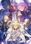 3girls 5boys armor armored_dress artoria_pendragon_(all) artoria_pendragon_(lancer) bangs bedivere bianyuanqishi blonde_hair blue_eyes breastplate cloak closed_eyes closed_mouth crown elbow_gloves eyebrows_visible_through_hair fate/apocrypha fate/extra fate/grand_order fate_(series) forehead full_armor fur_trim gauntlets gawain_(fate/extra) gloves green_eyes hair_between_eyes highres holding holding_shield holding_sword holding_weapon lancelot_(fate/grand_order) long_hair looking_at_viewer multiple_boys multiple_girls parted_lips pauldrons planted_weapon purple_gloves purple_hair redhead saber_of_red serious sheath sheathed shield shielder_(fate/grand_order) sidelocks silver_hair sword tristan_(fate/grand_order) uniform violet_eyes weapon