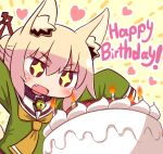 +_+ 1girl animal_ears bell bell_collar blonde_hair blush chibi collar fang fox_ears happy_birthday heart looking_away naga_u open_mouth original red_eyes sleeves_past_wrists smile solo