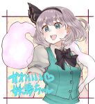 1girl :d blue_eyes blush bow bowtie breasts commentary_request cropped_torso green_vest highres hitodama konpaku_youmu konpaku_youmu_(ghost) medium_breasts medium_hair natsushiro open_mouth pink_background silver_hair simple_background smile solo touhou upper_body vest