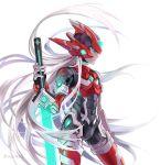 commentary_request energy_sword grey_hair indesign redesign rockman rockman_zero sword weapon zero_(rockman)