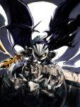 1boy armor aura gargoyle highres kirby_(series) looking_at_viewer mask meta_knight moon msmsm002 night sculpture shoulder_pads solo sword weapon wings yellow_eyes