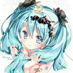 1girl aqua_eyes aqua_hair bangs crown eyebrows_visible_through_hair hatsune_miku kamiya_maneki long_hair mini_crown nail_polish smile solo vocaloid